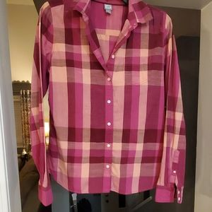 Pink plaid button down